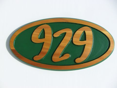 Wooden sign oval - numbers