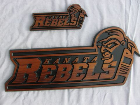 Wood sign hockey team logo - Kanata Rebels