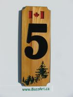 Engraved wood sign house address