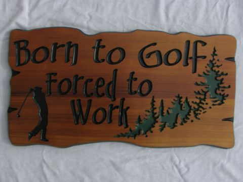 Wooden sign engraved golfer