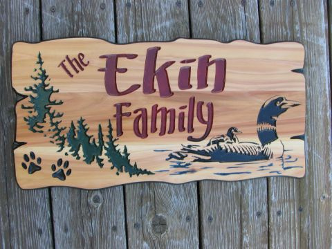 custom wood sign Loon, trees and paw prints