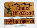 Two part cottage sign family name mountains trees street Address sign