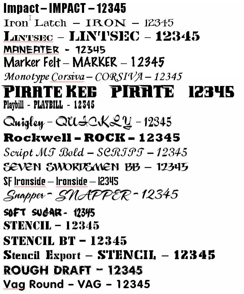 Font Examples for engraving