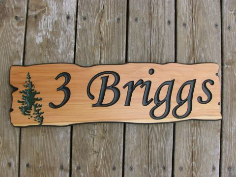 Wooden home address sign