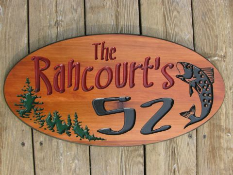 Wooden Sign - House address oval