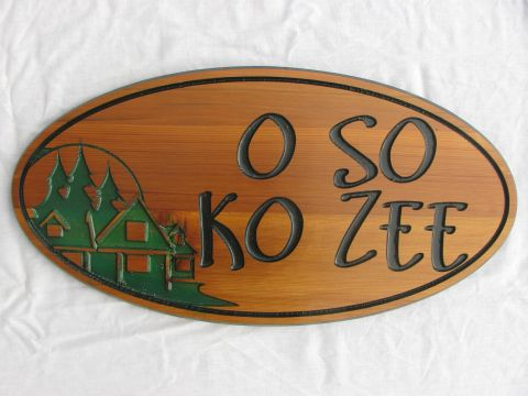 Wood engraved sign