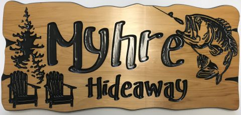 Rustic wooden sign fish