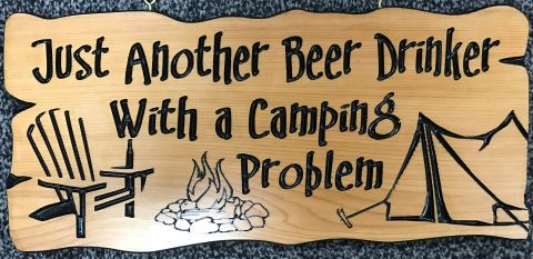 Camping wooden sign